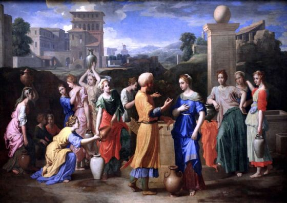 Poussin, Nicolas: Eliezer and Rebecca at the Well. Fine Art Print/Poster. Sizes: A1/A2/A3/A4 (003425)